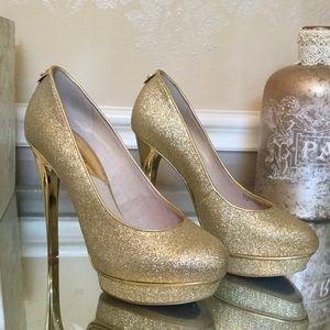 Michael Kors Gold Glitter Pump Heel